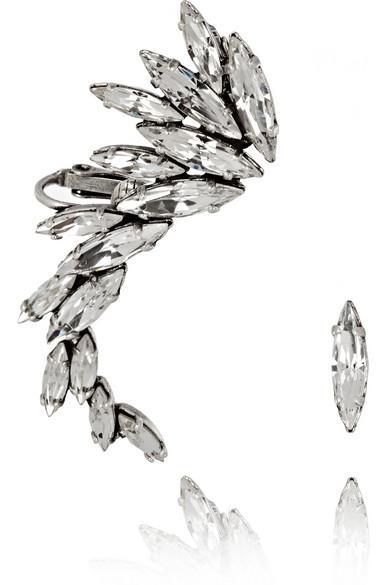 Ryan Storer | Oxidized silver-plated Swarovski crystal ear cuff | NET-A-PORTER.COM