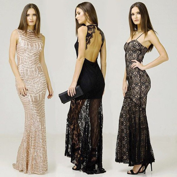 dress, angl, angl clothing, shop angl, black gown, black lace gown ...