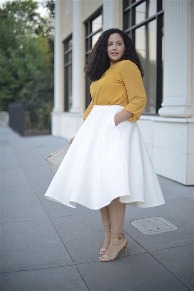 girl with curves blogger top bag curvy mustard skater skirt midi skirt
