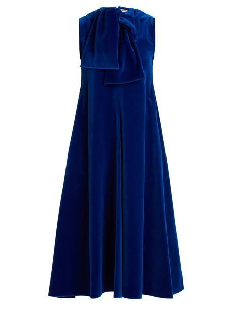 MAISON RABIH KAYROUZ dress midi dress sleeveless midi cotton velvet dark blue dark blue