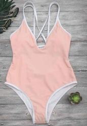 swimwear,white,girly,pink,light pink,one piece swimsuit,one piece