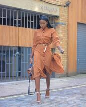 bag,handbag,leather bag,high heel sandals,midi dress,long sleeve dress,button up,belt,earrings