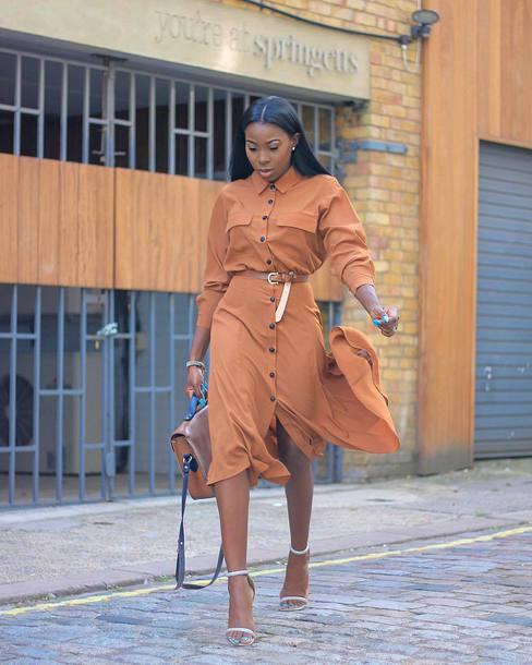 bag handbag leather bag high heel sandals midi dress long sleeve dress button up belt earrings