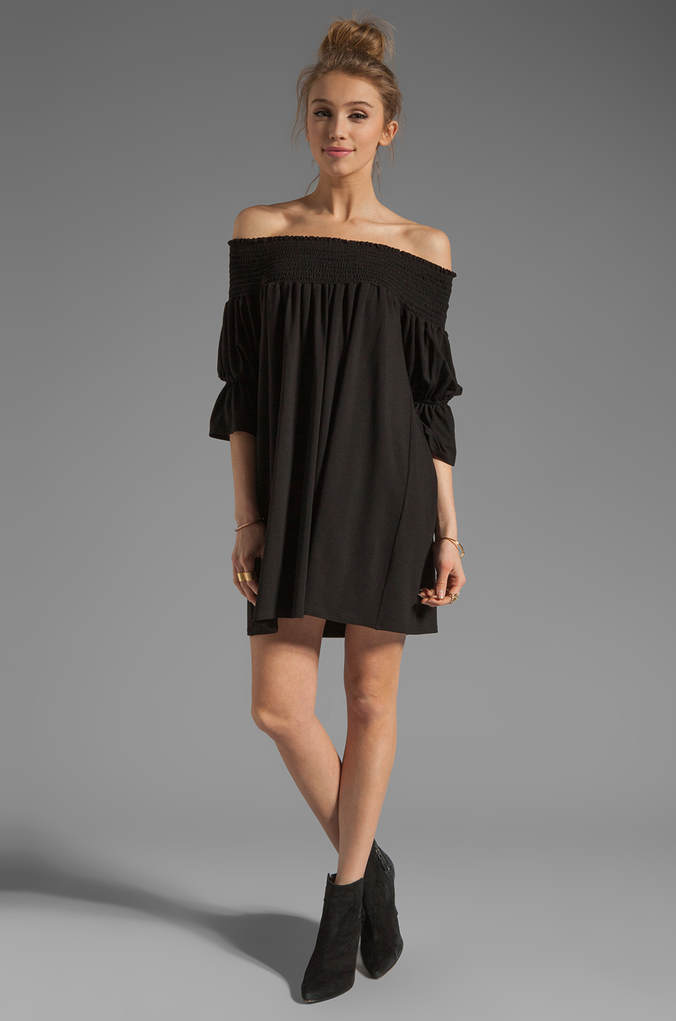 James & Joy Audrey Off the Shoulder Dress in Black | REVOLVE