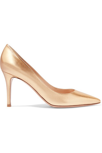 metallic pumps gold leather shoes