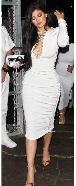 V neck bodycon dress white long sleeve
