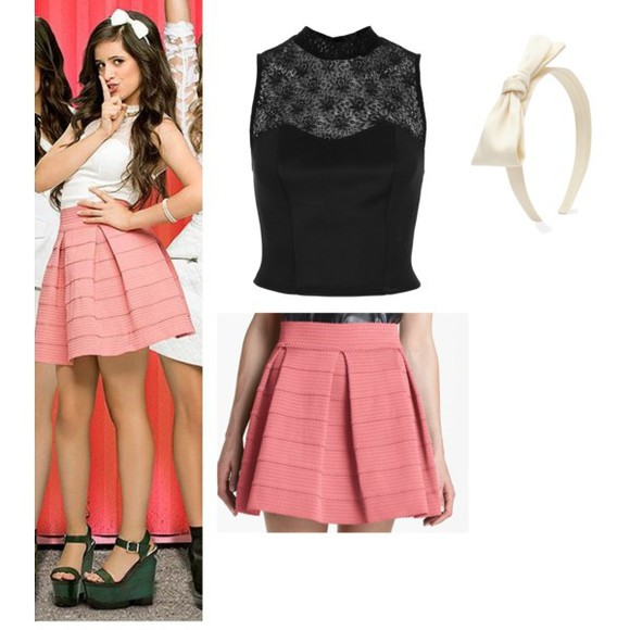 shoes skirt pink skirt top lace camila cabello outfit lace top Camila Cabello Fifth Harmony high heels