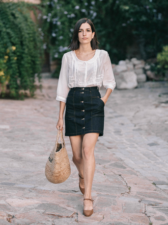 skirt tumblr mini skirt denim denim skirt bag blouse white blouse