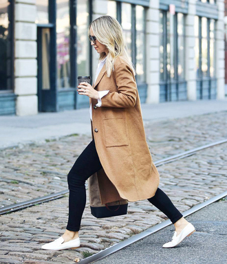 coat camel coat white shoes tumblr camel leggings black leggings shoes loafers fall outfits
