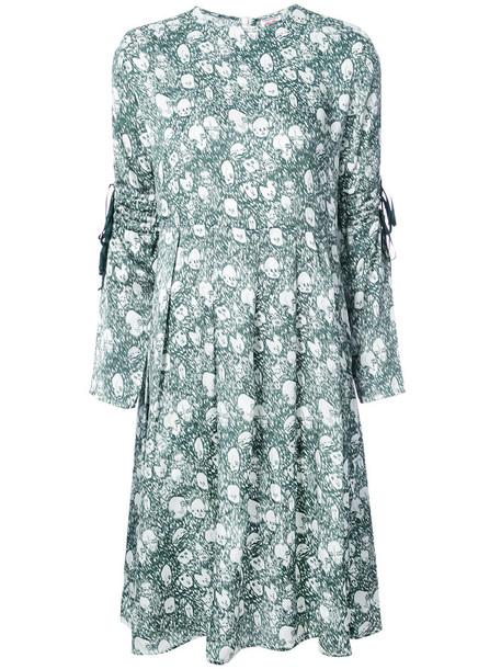 dress print dress tassel women print silk green