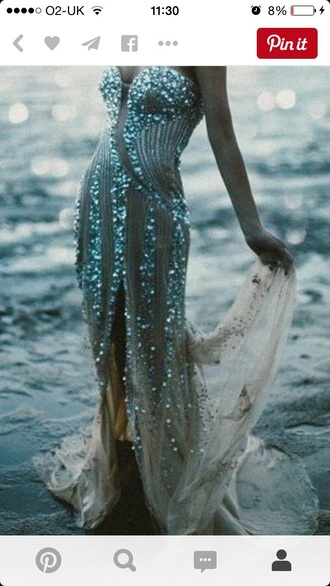 dress nude long prom dress slit sexy diamante detail pattern patterned dress flowy chiffon plunge dress strapless beautiful