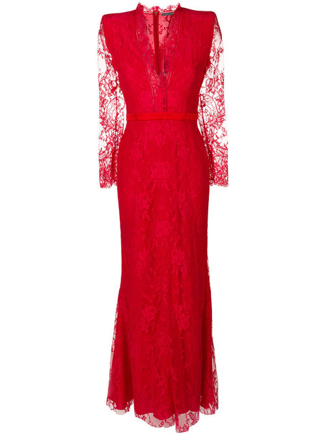 Alexander Mcqueen dress evening dress women lace cotton silk red