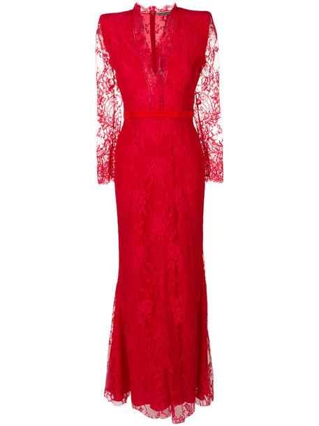 dress evening dress women lace cotton silk red