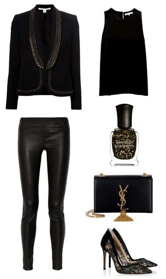 her imajination blogger nail polish stilettos clutch blazer new year's eve