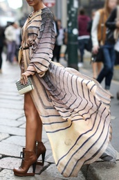dress,striped dress,maxi dress,beige,off-white,fashion week,long sleeves,shoes,flowy,earth tone,loose,fashion