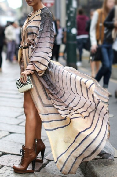 dress fashion loose fit flowy earth tone striped dress maxi dress beige off-white fashion week long sleeve shoes