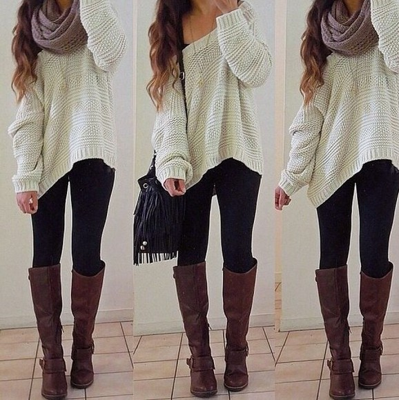 scarf brown leather boots bag boots shoes leather boots leather love blouse