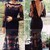 Black Sexy Embroidered Lace Long Sleeve Halter Maxi Dress