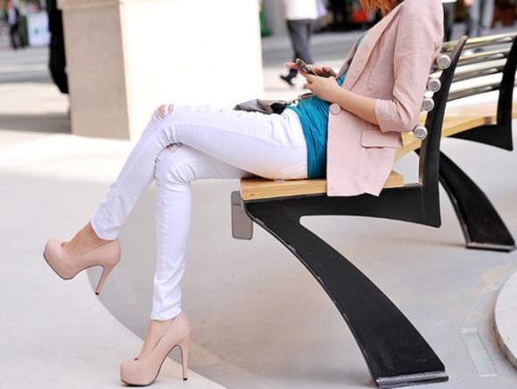 nude shoes coat pink blazer white pants