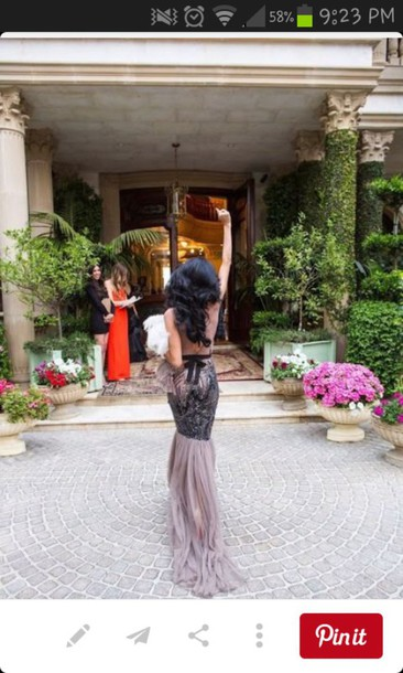 dress black dress lace purple mermaid prom dress