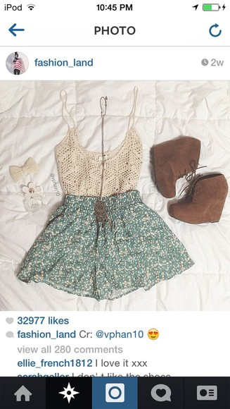shorts white lace top shirt jewels shoes skirt