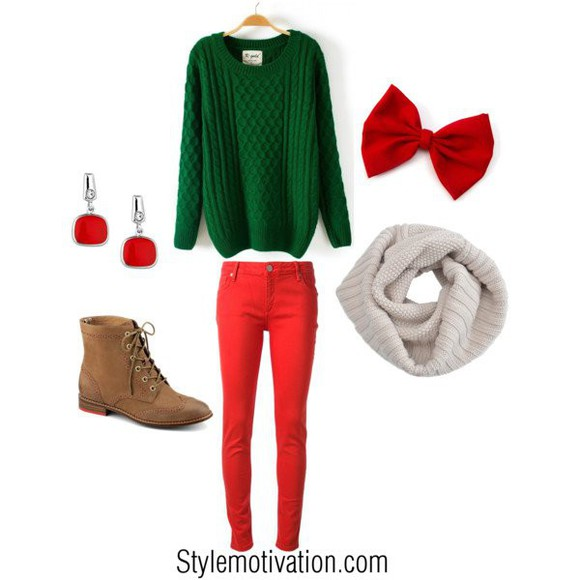 sweater green sweater christmas red jeans red pants bows red bow earrings red earrings brown boots boots jeans