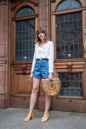 shorts,white top,wrap top,tumblr,denim,denim shorts,bag,handbag,top,sandals,mid heel sandals,yellow,shoes