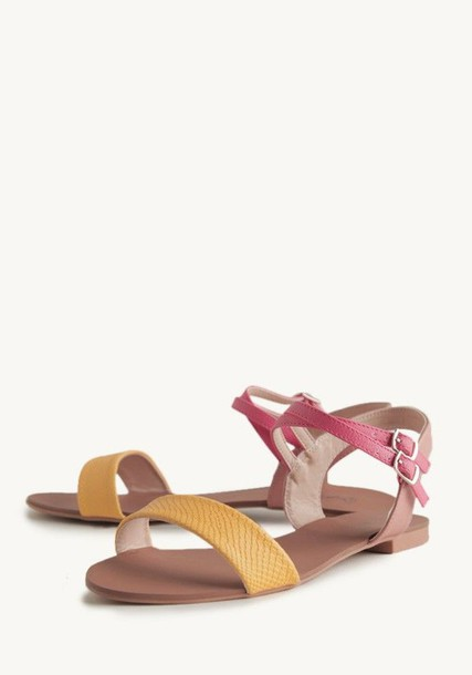 b7fc468a3eaef0 strappy sandals faux leather sandal yellow and pink multi colored sandal  lovely sweet sweetheart sandal casual