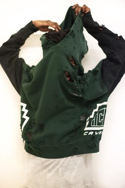 top ripped hoodie dope