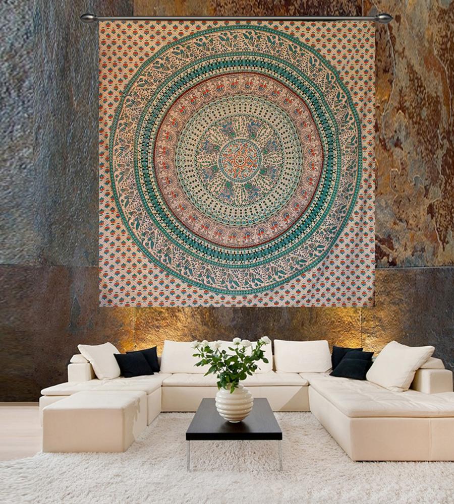 Green & Red Mandala Wall Tapestry
