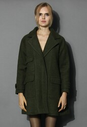 chicwish,pockets wool coat,oversized olive coat,fashion and chic