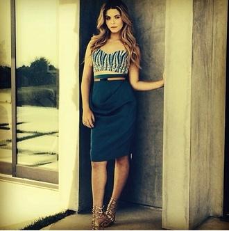 dress two-piece navy blue pencil skirt light blue crop top