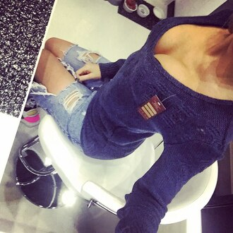 sweater dark blue blue v neck knitwear knitted sweater fashion fall outfits fall colors cool nice winter sweater urban trendy top jeans pants