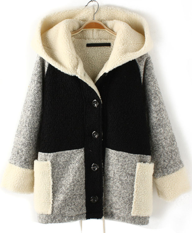 Black Contrast Grey Hooded Loose Wool Coat - Sheinside.com