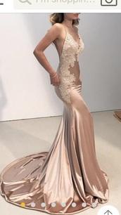 dress,champagne,lace,prom dress,mermaid prom dress,beige dress,nude dress,nude,sequin dress