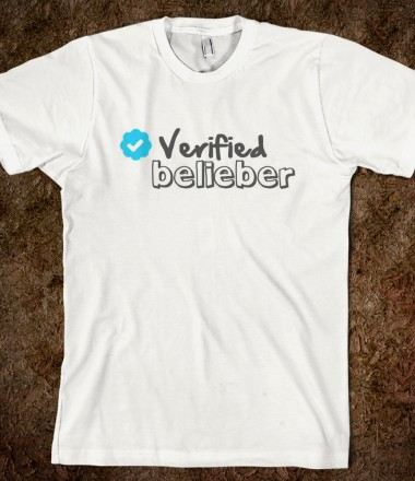 VERIFIED BELIEBER TEE - Pink Umbrella - Skreened T-shirts, Organic Shirts, Hoodies, Kids Tees, Baby One-Pieces and Tote Bags Custom T-Shirts, Organic Shirts, Hoodies, Novelty Gifts, Kids Apparel, Baby One-Pieces | Skreened - Ethical Custom Apparel