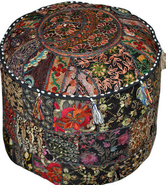 home accessory large round poufs living room black bean bag indian ottoman round poufs patchwork pouf throw pillow bean bag boho
