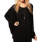 Black plicated plus size batwing top