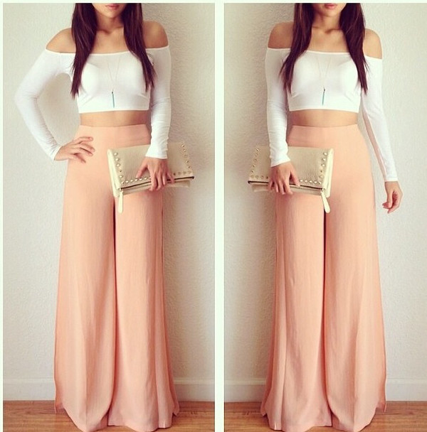 Urban outfitters bedding 2016 - Dailylook Side Split Palazzo Pants In Peach S L