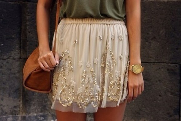 skirt beige beige skirt sequin skirt sequins