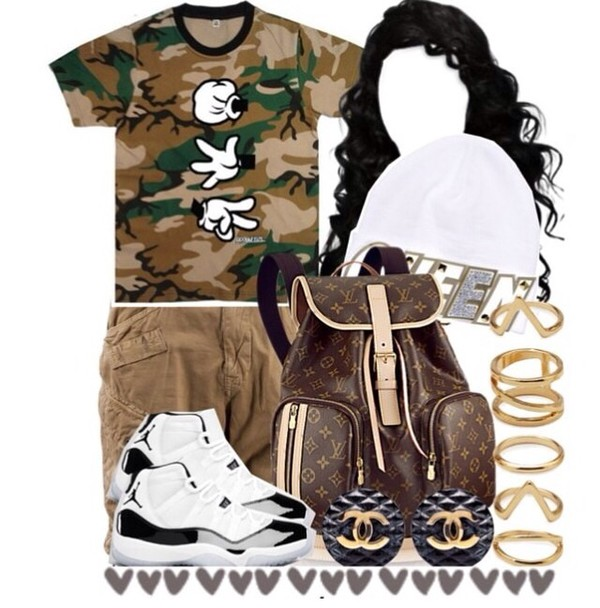 camouflage peace sign bag shirt
