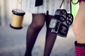 bag tumblr black bag chanel chanel bag tights