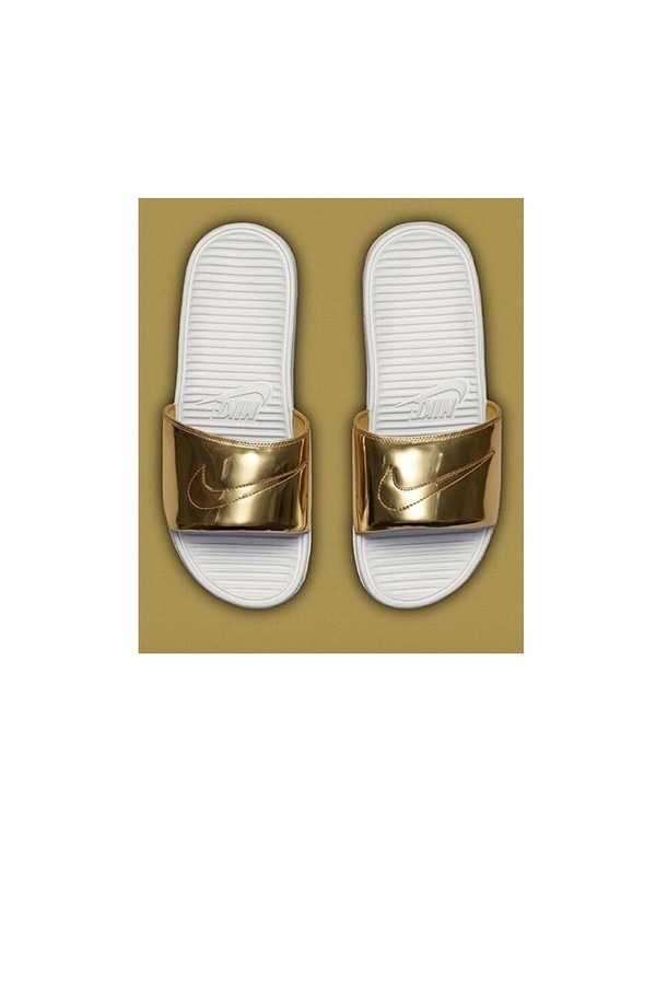 shoes nike gold white sporty slide shoes