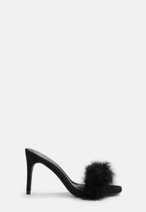 Black Feather Faux Suede Mules