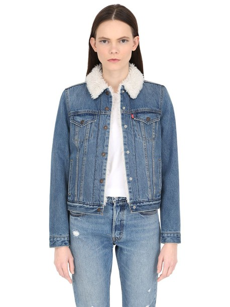 LEVI'S RED TAB Faux Shearling & Cotton Denim Jacket in blue ...