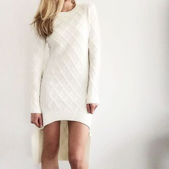 dress elliatt sweater dress white white dress long sleeves winter white winter outfits winter sweater winter dress diamond pattern knitwear hi low dresses warm cozy fall outfits revolveme revolve clothing revolve