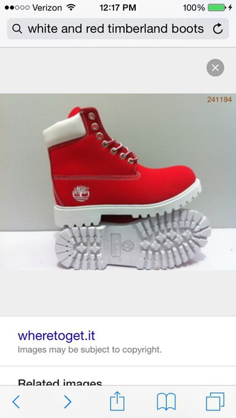 shoes timberland red and white boots