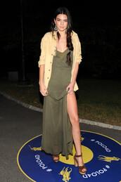 dress,sandals,kendall jenner,fashion week 2014,maxi dress,forest green,fringes