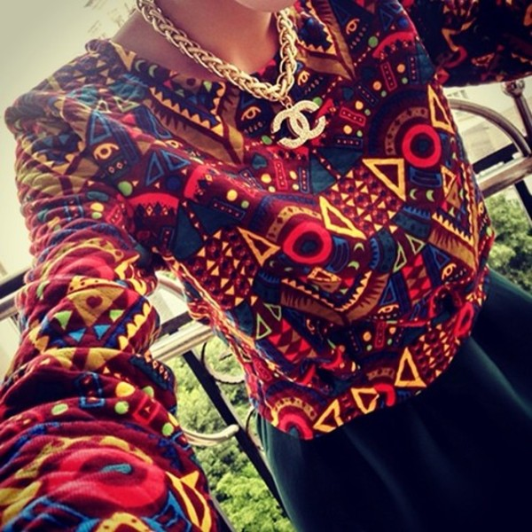 blouse t-shirt shirt chanel aztec jewels