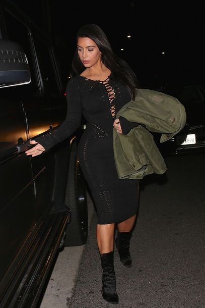 kim kardashian boots balmain knitted dress bodycon dress black boots dress shoes